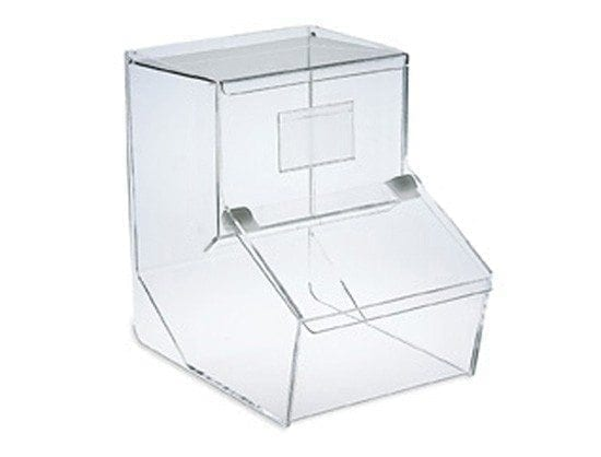 Maxi candy bin with self-closing lid
