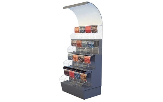 Space candy display with bins