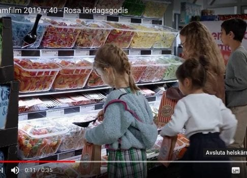 Candy display and bins in tv commercial